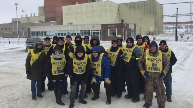 Crown Royal workers hit the picket lines outside the distillery in Gimli, Man., Saturday morning.