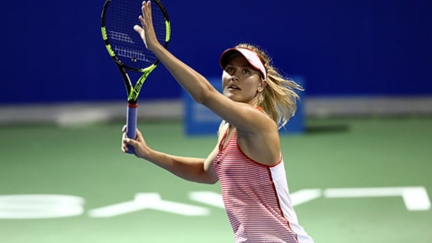 Eugenie Bouchard of Canada in action during the 2016 BMW Malaysian Open at Kuala Lumpur Golf & Country Club on Feb. 29 in Kuala Lumpur, Malaysia.