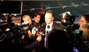 Dale Hawerchuk at the MTS Centre in Winnipeg Sunday.