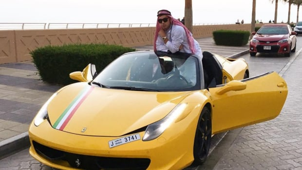 On his Instagram account, Nixon posed with a Ferrari in Dubai with a caption that said: 'Don't worry I won't speed.'