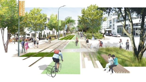 An artist's rendering of the planned Arbutus greenway to replace the current unused railway route.