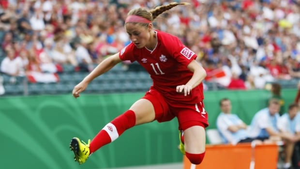 Janine Beckie, shown in this 2014 file photo, scored the only goal Canada needed in a 1-0 win over Iceland on Monday in the Algarve Cup in Portugal.