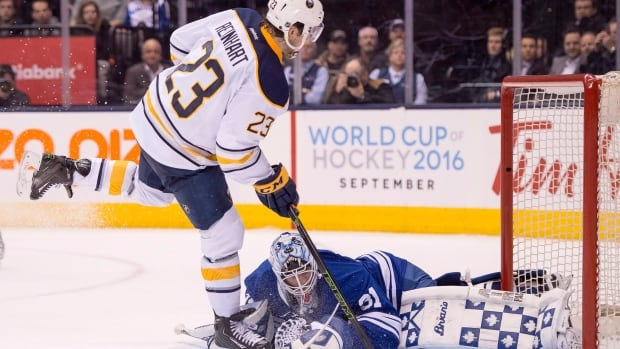 San Reinhart of the Sabres slipped a shootout winner past Garret Sparks in the Leafs' goal to provide Buffalo with a 4-3 victory in Toronto Monday night.