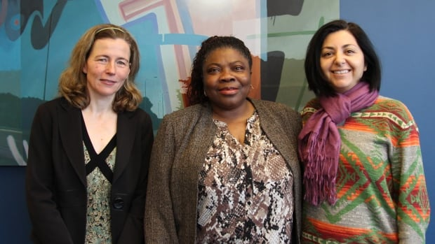 Three local leaders took part in CBC K-W's International Women's Day panel. From left: Mary Wells, the associate dean of outreach in the faculty of engineering at the University of Waterloo; Funke Oba, a university lecturer in social work and part of the African-Canadian Association; Isabel Cisterna, the artistic director of Neruda Arts.