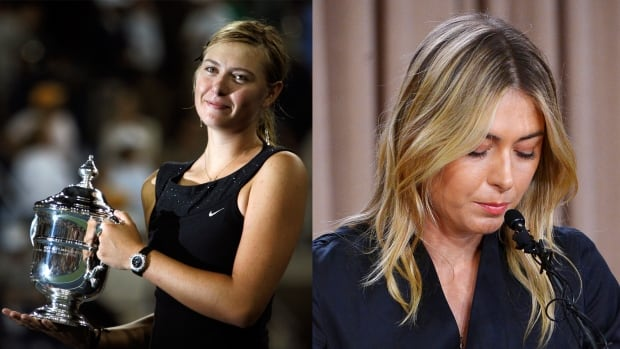Russia's Maria Sharapova, left, holds the women's U.S. Open trophy in New York, Sept. 9, 2006. In the photo on the right, Sharapova speaks to the media announcing a failed drug test after the Australian Open during a news conference on Monday.