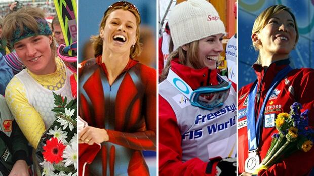 From left to right, Canadian Olympians Kerrin Lee-Gartner, Catriona Le May Doan, Jenn Heil and Beckie Scott.