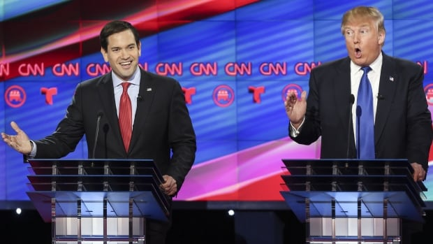 Senator Marco Rubio, left, disputed Donald Trump's claim that his eponymous school received a top rating from the Better Business Bureau.