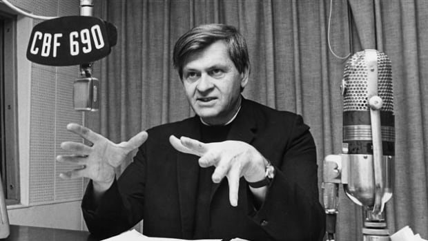 Father Lacroix was in the public eye as a theologian, historian and intellectual. Here, in a studio in 1972.