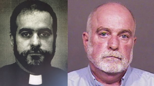 Anglican priest Gordon William Dominey, left, in the 1980s and in 2016, right. Dominey now faces 18 sexual assault charges and nine gross indecency charges.