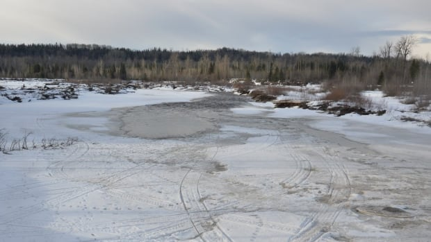 Search and rescue efforts are focusing on this area of the Salmon River, about 28 kilometres northeast of Prince George, downstream from where the snowmobilers went missing.