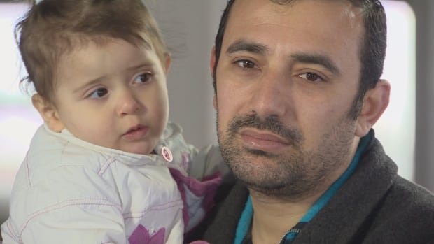 Amer Mejarmish, 33, pictured with daughter Mayar.