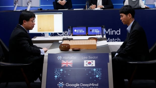 South Korean professional Go player Lee Sedol, right, prepares for his second stone against Google's artificial intelligence program, AlphaGo, as Google DeepMind's lead programmer Aja Huang, left, sits during the Google DeepMind Challenge Match in Seoul, South Korea, Wednesday, March 9, 2016. Google's computer program AlphaGo defeated Sedol in the first game of a historic five-game match between human and computer.