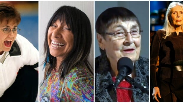 From left to right: Sandra Schmirler (Archives Canada), Buffy Sainte-Marie (Chris Young/The Canadian Press), Sylvia Fedoruk (YouTube), Joni Mitchell (Max Morse/Reuters).