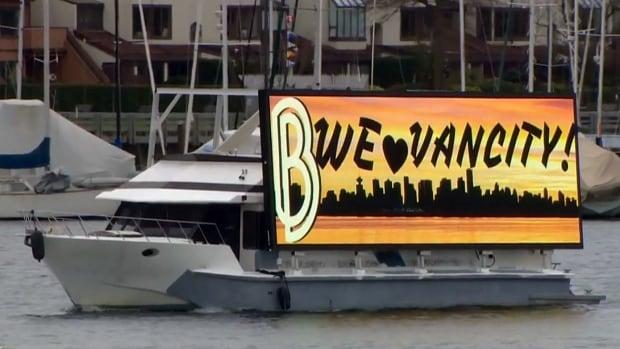 Burke Billboard's electronic billboard on False Creek in Vancouver Wednesday morning.