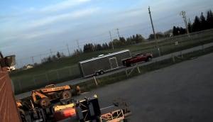 Truck leaving MillardAir hangar