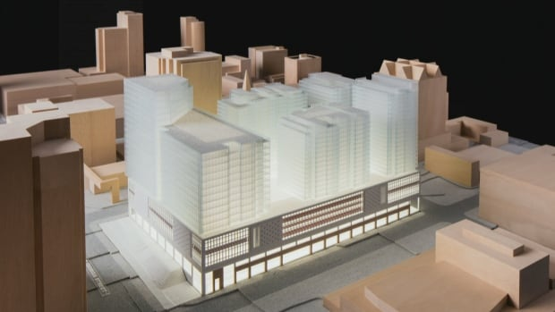 A model of the proposed redevelopment project for Vancouver's former downtown Canada Post office.