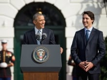 U.S. President Barack Obama, right, and Prime Minister Justin Trudeau share a laugh as they pose for a photo in the Oval Office of the White House in Washington, on Thursday, March 10, 2016.