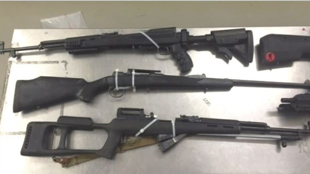 Edmonton police seized numerous guns during the raid of a marijuana grow operation.