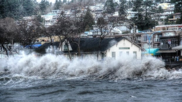 Waves pounding in White Rock.