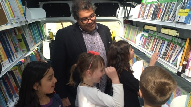 Calgary Mayor Naheed Nenshi introduces bookmobile 2.0 to a new generation of young readers Thursday.