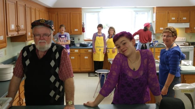 Volunteers at St. John's United Church preparing the Thursday KD lunch.