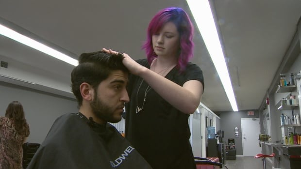 Salmon Arm's first Syrian refugee gets his first haircut in Canada. Mustafa Zakreet says a haircut in Syria used to cost 150 Syrian Pounds. That's equivalent to less than one dollar Canadian.