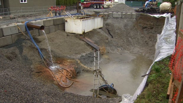 A home construction project in South Vancouver led to a breach of the local aquifer.