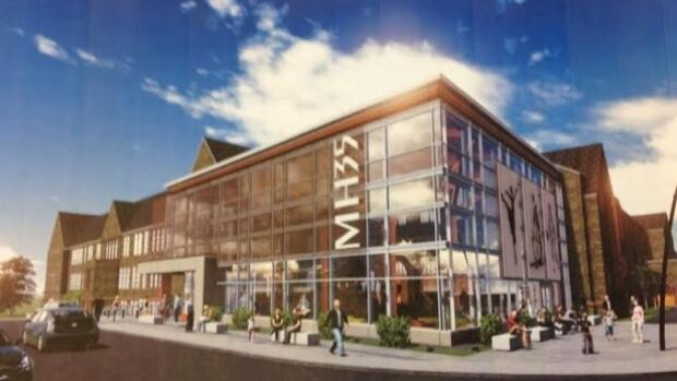 An artist's drawing showing what the former Moncton High building may look like if a proposal by MH Renaissance Inc. is accepted. City Council delayed a vote on whether to accept the plan on Tuesday.