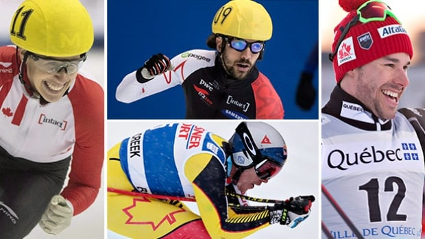 Clockwise from left, Marianne St-Gelais, Charles Hamelin, Alex Harvey and Erik Guay will all be in action this weekend and a part of the coverage on this weekend's Road to the Olympic Games.
