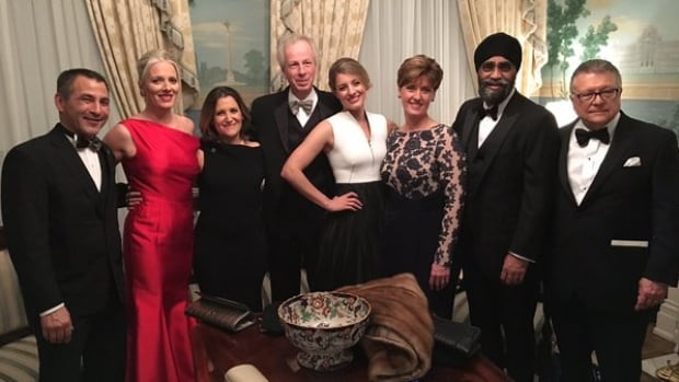 Environment Minister Catherine McKenna tweeted this photo Thursday. It shows Nunavut MP and Fisheries Minister Hunter Tootoo, on left, wearing a sealskin bow tie at the state dinner in the White House.