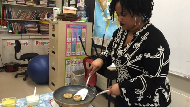 Wendie Poitras fried up salt cod fish cakes with curry mayonnaise for her Grade 3 class at Duc D'Anville Elementary School.
