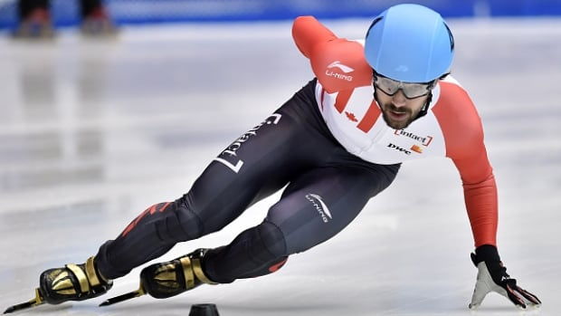 Canada's Charles Hamelin fell in his 500-metre heat at the world short track speed skating championships on Friday, eliminating him from medal contention in that distance.