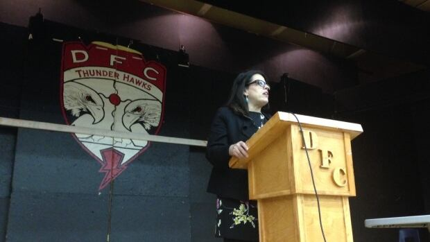 Tracey Lindberg is a law professor at the University of Ottawa.  She shared her experiences as an aboriginal women in law with students at Dennis Franklin Cromarty high school in Thunder Bay.  It is an all-First Nations school