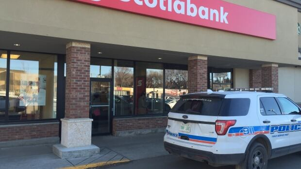 A branch of Scotiabank, on 13th Ave., was the target of an armed robber wearing shorts. Regina police are investigating.