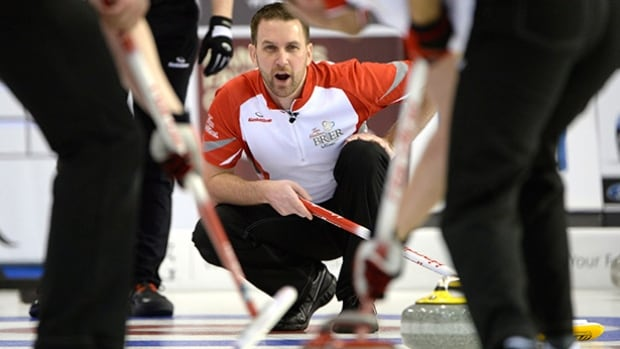 Newfoundland and Labrador skip Brad Gushue calls during a draw against Northern Ontario during Page playoff competition at the Tim Hortons Brier curling championship on Friday in Ottawa.