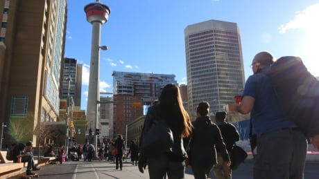 Calgary 6155 tower downtown skyline people walking