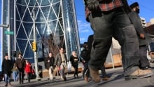 Calgary 6155 downtown people walking bow tower