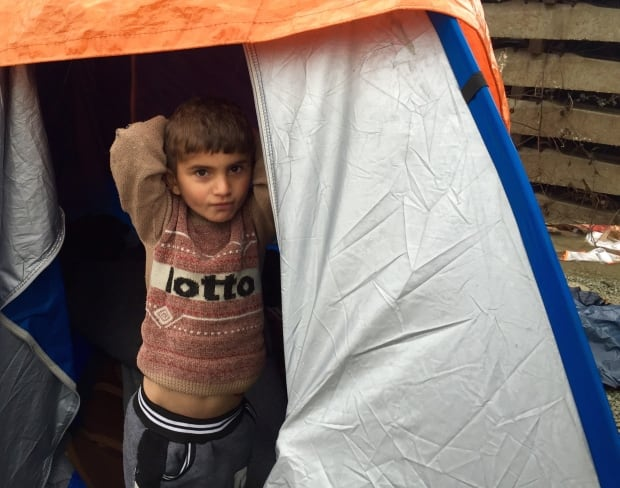 Little boy in tent