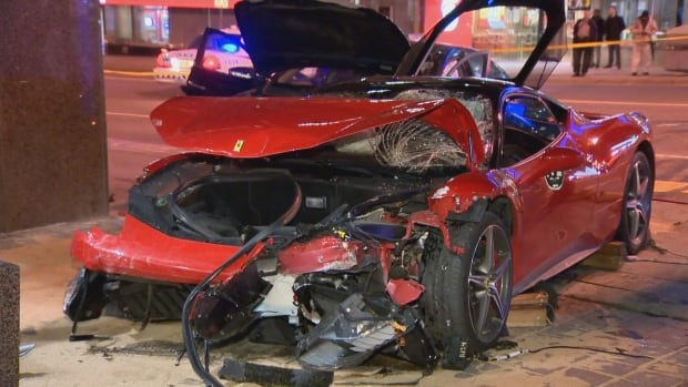 The Ferrari and another car crashed into the CIBC at Yonge Street and Eglinton Avenue shortly before midnight on Saturday.
