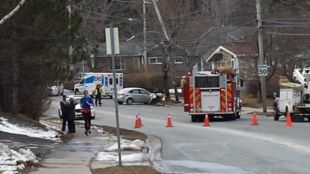 Traffic on part of Kearney Lake Road was blocked off Sunday afternoon.