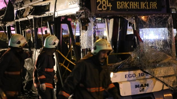 The wreckage of a bus is seen after an explosion in Ankara's central Kizilay district early this week.
