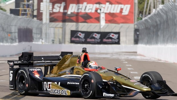 Canada's James Hinchcliffe, seen here driving during Saturday's practice for Sunday's IndyCar Grand Prix of St. Petersburg in Florida, finished 19th in the season-opening race. Ten months ago, Hinchcliffe suffered life-threatening injuries when a part of the suspension from his car pierce Hinchcliffe's upper left thigh during an Indianapolis 500 practice crash.