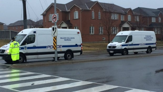 Peel police have blocked a portion of Britannia Road West in Mississauga as investigators work at the scene of a pedestrian fatality.