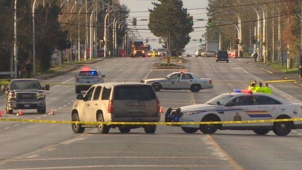 RCMP officers closed King George Boulevard in both directions between 80th Avenue and 84th Avenue while they investigated the incident.