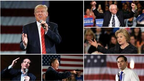 Trump Cruz Kasich Rubio Sanders Clinton