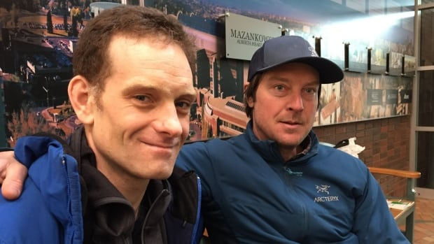 Dana Ruddy with his friend Sean Elliott at University of Alberta Hospital, two weeks after an avalanche at Jasper National Park.