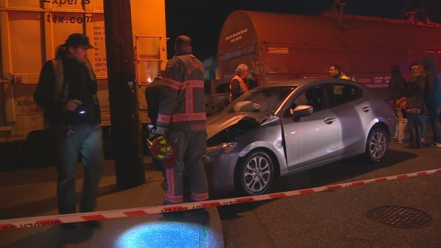 The four occupants of this car are uninjured, but still shaken up, after their car collided with a train near Ambleside Park Tuesday night.