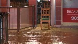 water main break floods 2 businesses in Brampton