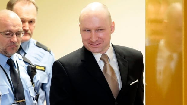 Anders Behring Breivik  enters a hearing at a prison in Skien, Norway, on Tuesday. Breivik, the right-wing extremist who killed 77 people in bomb and gun attacks in 2011, launched a human rights case against the Norwegian government over the conditions of his imprisonment.