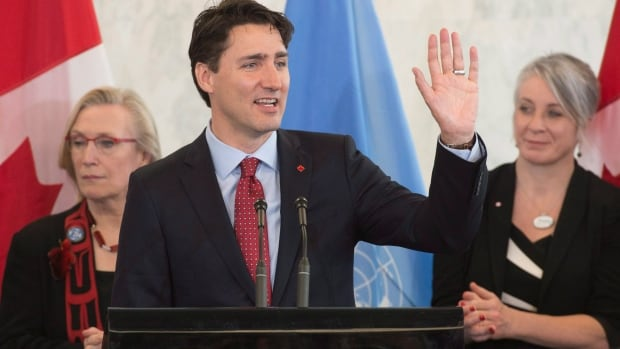 Prime Minister Justin Trudeau waves as he wraps up his remarks during an event at the United Nations headquarters in New York on Wednesday.